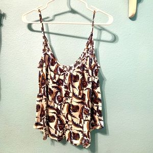 Spaghetti strap tank top with floral print